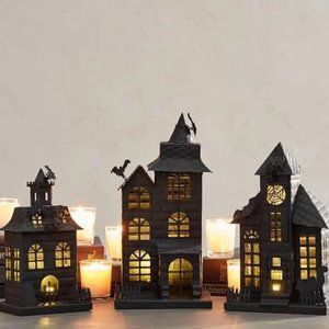 Set 3 Pottery Barn Metal Halloween Haunted Houses